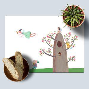 פיות האותיות - פלייסמט לשולחן דגם עץ ופיות
